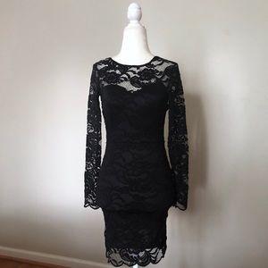 H&M divides black low back lace dress